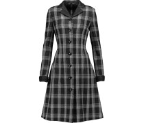 Checked Wool-blend Coat Schiefer