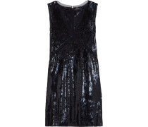 Mesh-trimmed Sequined Crepe Dress Navy