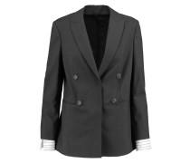 Embellished Wool-blend Blazer Dunkelgrau