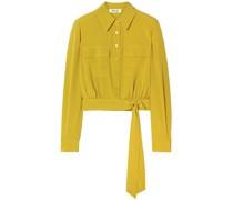 Everlynn Belted Silk Crepe De Chine Shirt