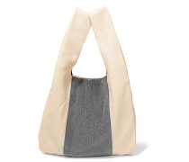 Embellished Leather Tote Beige