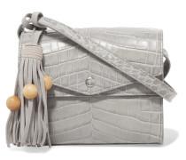 Eloise Tasseled Croc-effect Glossed-leather Shoulder Bag Hellgrau