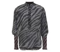 Shirred Printed Silk-crepon Top