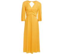 Isobella Ruched Leopard Satin-jacquard Midi Dress