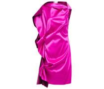 Gathered Draped Silk-satin Mini Dress