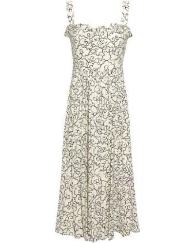 Ruffle-trimmed Printed Crepe Midi Dress Ivory Size 12
