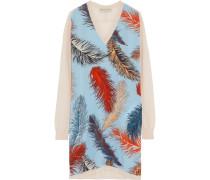 Printed Silk-paneled Merino Wool Mini Sweater Dress Mehrfarbig