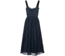 Velvet-trimmed Lace Midi Dress