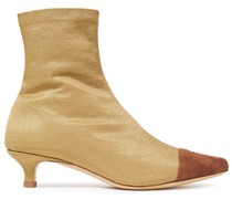 Karl Leather-trimmed Stretch-satin Sock Boots