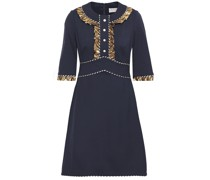 Ruffle-trimmed Button-embellished Printed Woven Mini Dress
