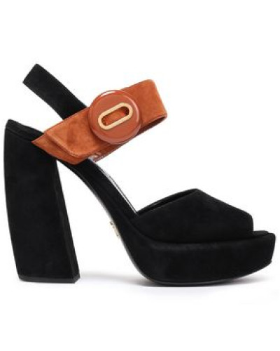 Woman Two-tone Suede Platform Sandals Black