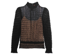 Crochet-knit Wool-blend Blouse Schwarz