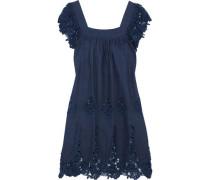 Lucille lace-paneled cotton-chambray mini dress
