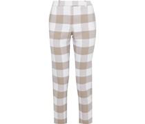 Cropped Gingham Wool-blend Twill Slim-leg Pants