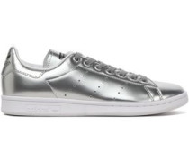Perforated metallic faux leather sneakers