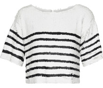 Deandra Cropped Striped Sequined Tulle Top
