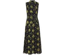 Joelle Pleated Floral-print Textured Georgette Midi Dress