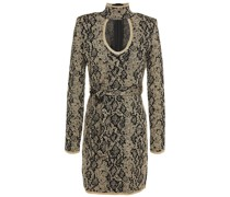 Cutout Metallic Jacquard-knit Mini Dress