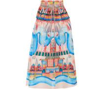 Nymph printed silk peplum midi skirt
