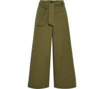 Jac belted cotton-twill culottes