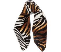 Trudy Printed Washed-silk Scarf Zebra-Print