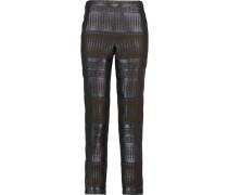 Metallic Jacquard Slim-leg Pants Mitternachtsblau