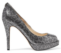 York Glittered Mesh Sandals Stahlgrau