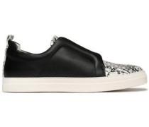 Paneled printed leather slip-on sneakers