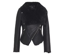 Ribbed Knit-paneled Shearling Biker Jacket