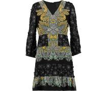 Appliquéd Paneled Printed Silk-crepe Mini Dress Gelb