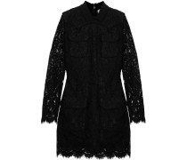Crepe-trimmed Corded Lace Dress Schwarz