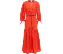 Alexis Wrap-effect Gathered Cotton-poplin Midi Dress