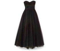 Ruched Polka-dot Flocked Tulle Gown