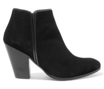 Leather-trimmed Suede Ankle Boots Schwarz