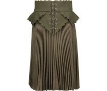 Embroidered wool felt-paneled plissé wool-canvas skirt