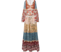Embellished printed fil coupé silk-blend chiffon gown