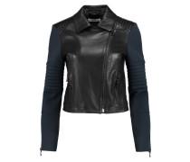 Aiah Neoprene-paneled Leather Biker Jacket Navy