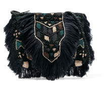 Fringed Beaded Cotton-bouclé Shoulder Bag Mitternachtsblau