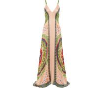 Hammered Printed Silk-satin Maxi Dress