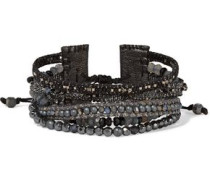 Sterling silver beaded leather bracelet