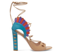 Lotus Suede-trimmed Lace-up Leather Sandals Hellblau