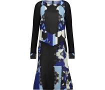 Layered printed wool and silk-blend dress