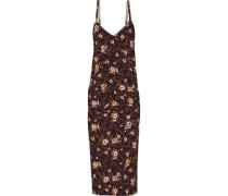 Draped floral-print cady dress