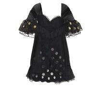 Embellished Metallic Fil Coupé Chiffon, Point D'esprit And Corded Lace Mini Dress