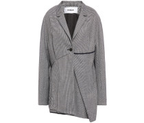 Asymmetric Houndstooth Wool-blend Blazer