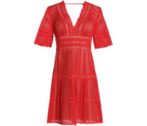 Flared broderie anglaise cotton mini dress