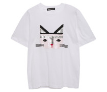 Woman Alex Cat Face Sequin-embellished Cotton-jersey T-shirt White