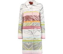 Striped crochet-knit wool-blend coat