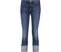 Mid-rise Paneled Distressed Slim-leg Jeans Mittelblauer Denim
