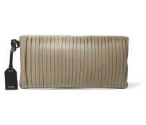 Pintucked Leather Clutch Champignon